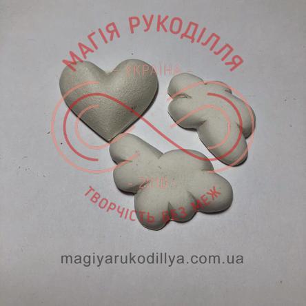 Гіпсоформа збірна серденько h3см та хмаринки h4см