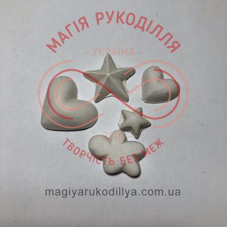 Гіпсоформа збірна серденько h2,5см та h1,7см; зірочки h2,2см та h1,3см; хмаринки h1,7см