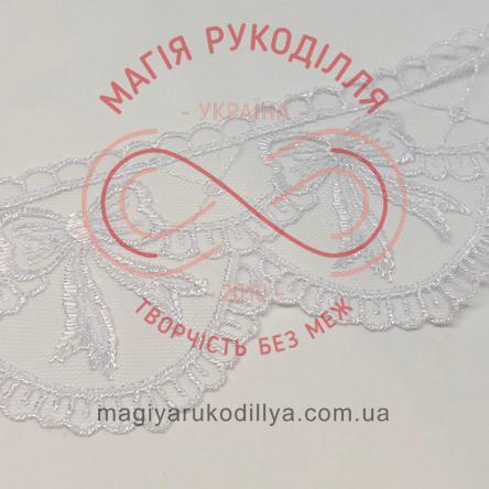 Мереживо фатин із візерунком 6,5см - 52833 білий