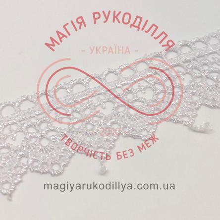 Мереживо фатин із візерунком 2,7 см - 3340 білий