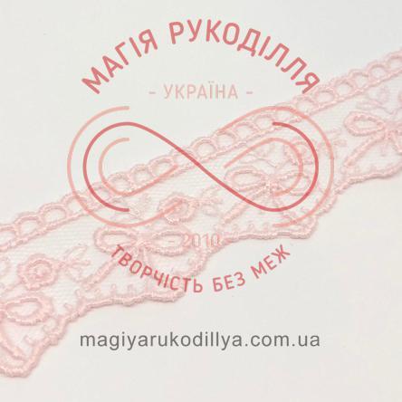 Мереживо фатин із візерунком 2,7 см - 5236 рожевий