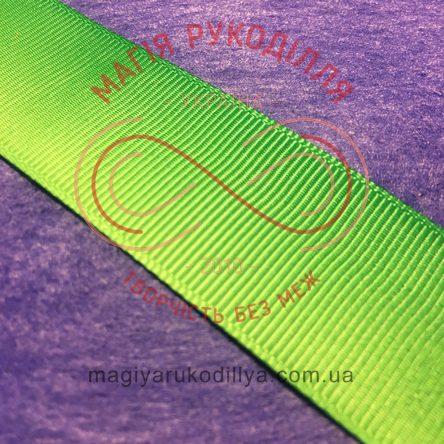 Стрічка репсова омбре 25мм - світлий зелений-зелений