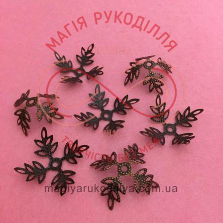 Обіймач намистини квітка 4 пелюстки d30мм h12мм - мідний