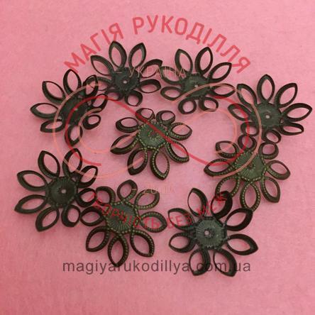 Обіймач намистини квітка 8 пелюсток d20мм h11мм - бронзовий
