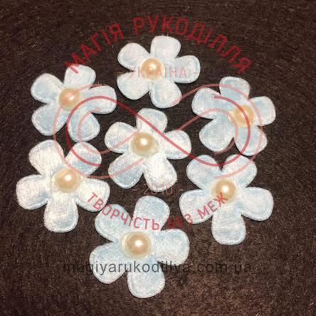 Фетрова заготовка квітка з напівперлиною d2,6см - блакитний