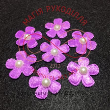Фетрова заготовка квітка з напівперлиною d2,6см - фіолетовий