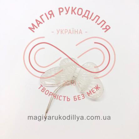 Метелик пластиковий 60мм*50мм - прозорий