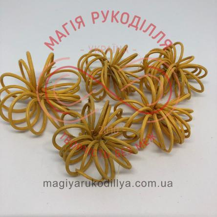 Природний матеріал ротанг квітка спіральна d4,5см - жовтий