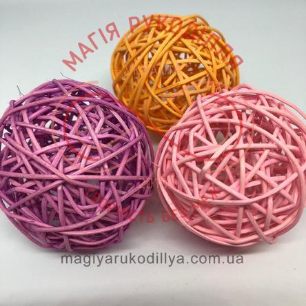Природний матеріал куля ротангова d7см - рожевий