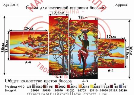 Модульная схема для вышивания бисером картина - ТМ-5 Африка