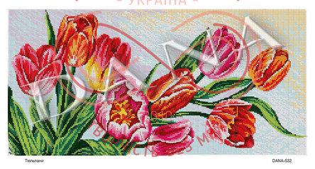 Схема для вишивання бісером картина габардин панно - DANA-532 Тюльпани