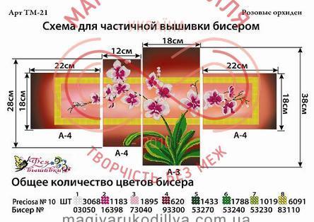 Модульная схема для вышивания бисером картина - ТМ-21 Розовые орхидеи