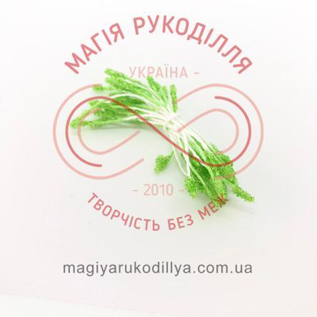 Тичинки-краплинки цукрові на нитці двосторонні d1-2мм h5,5см 1в'язочка/25шт - салатовий