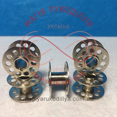 Шпулька для побутових швейних машин d21мм h10мм - метал хром перфо