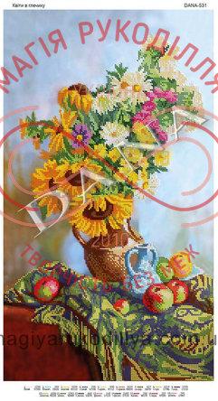 Схема для вишивання бісером картина габардин панно 31см*55см - DANA-531 Квіти в глечику