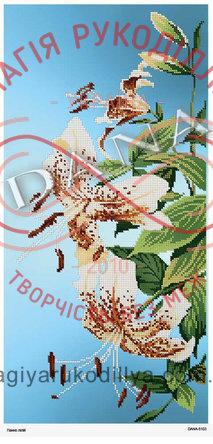 Схема для вишивання бісером картина габардин панно 25см*50см - DANA-5103 Панно лілій
